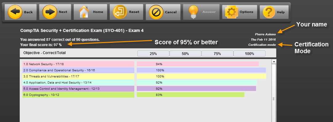 Screenshot of CertBlaster grading page