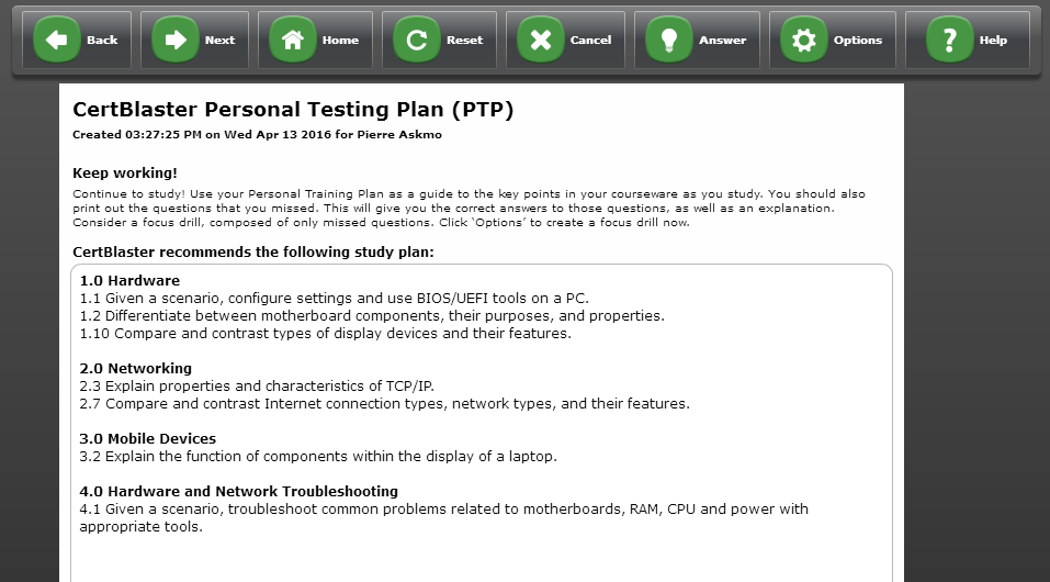 Example of CertBlaster Personal Testing Plan - PTP