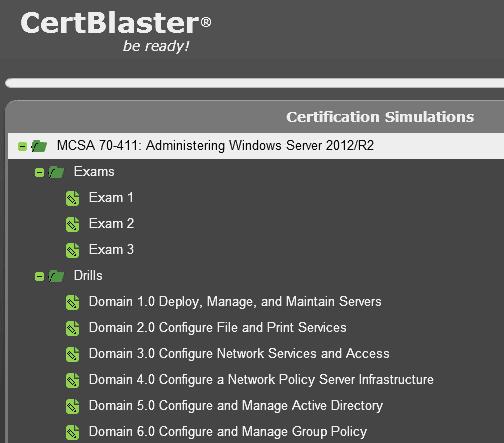 CertBlaster 70-411 practice test