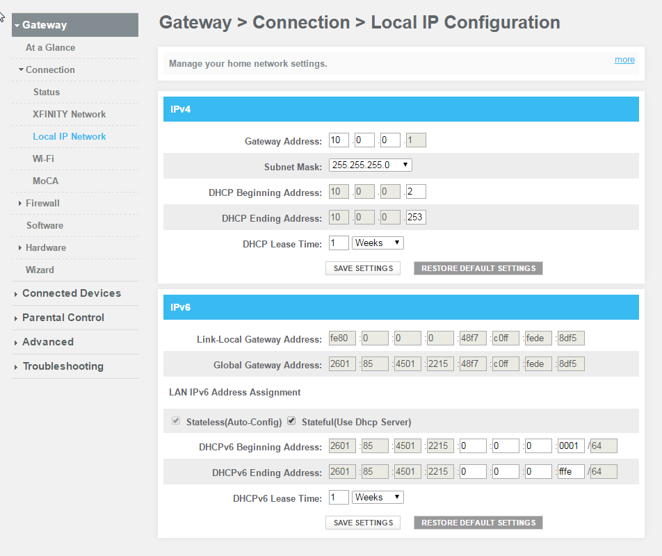 Screenshot of a dhcp Configuration Panel