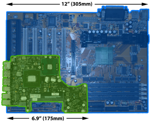 photo of ATX and Laptop System Boards Comparison