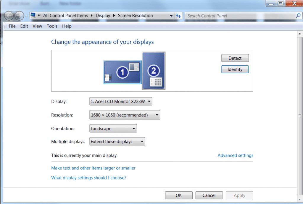 Screenshot of a windows configuration screen showing two monitors