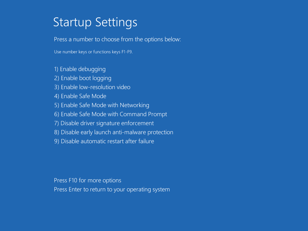 Screenshot of the blue startup settings screen