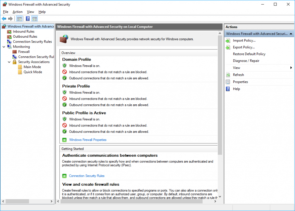 Screenshot of Firewall with Advanced Secuity
