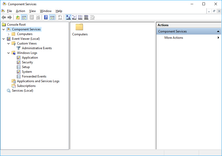 Screenshot of Windows Component Services