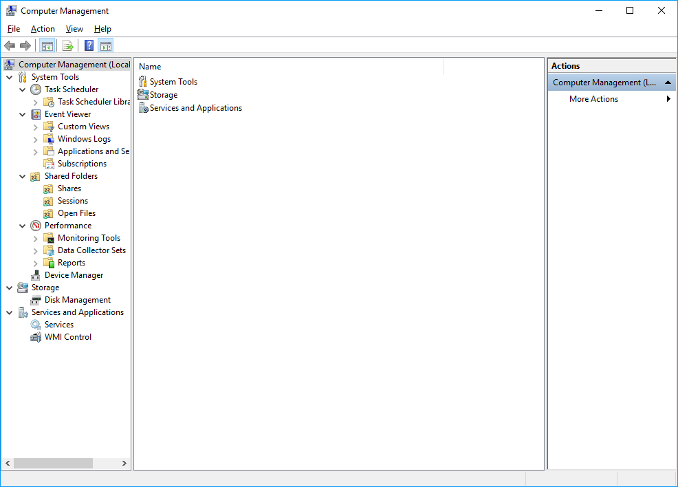 Screenshot of Windows Computer Managment