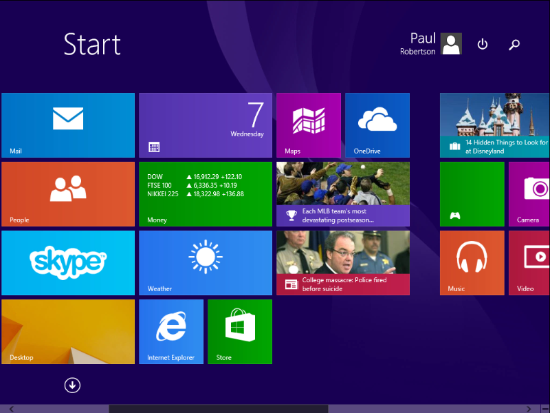 Screenshot of Metro User Interface in Windows 8 & 8.1