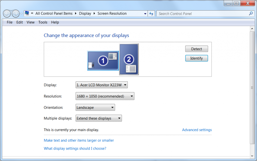 Screenshot of Windows screen orientation & resolution pop-up