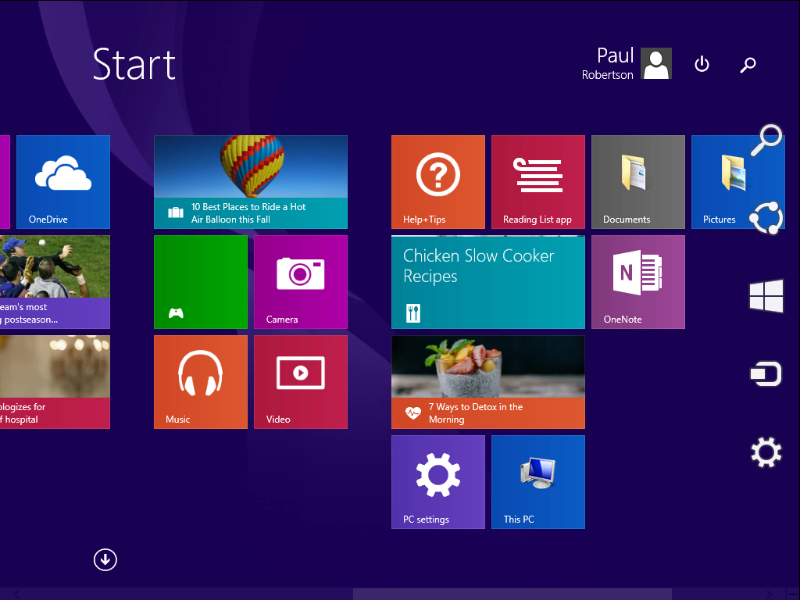Screenshot of Windows 8 Charms