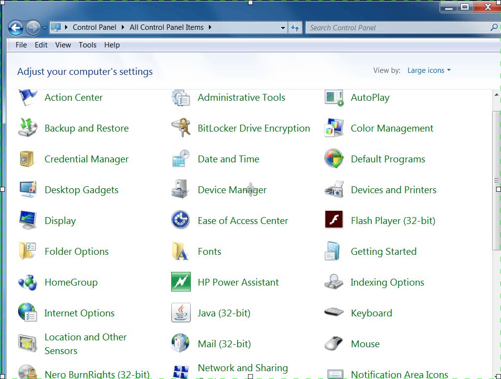 Screenshot of Control Panel in Windows Classic View