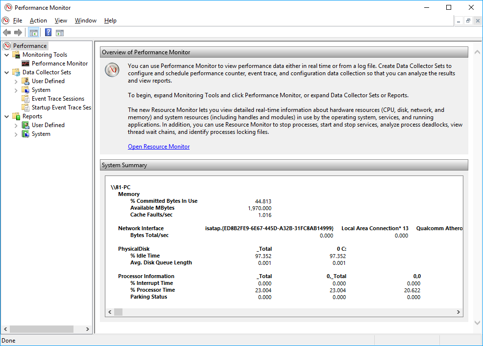 Screenshot of Windows Performance Monitor
