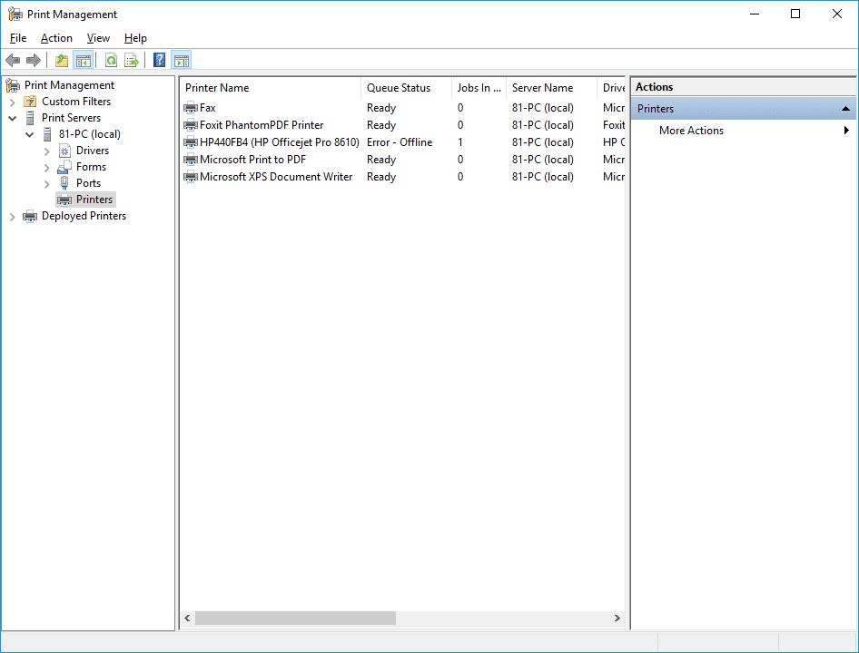 Screenshot of Print Management