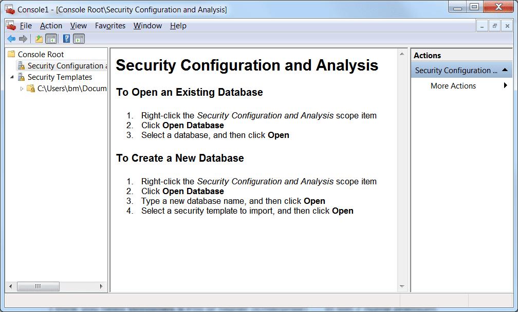 Screenshot of Security Configuration