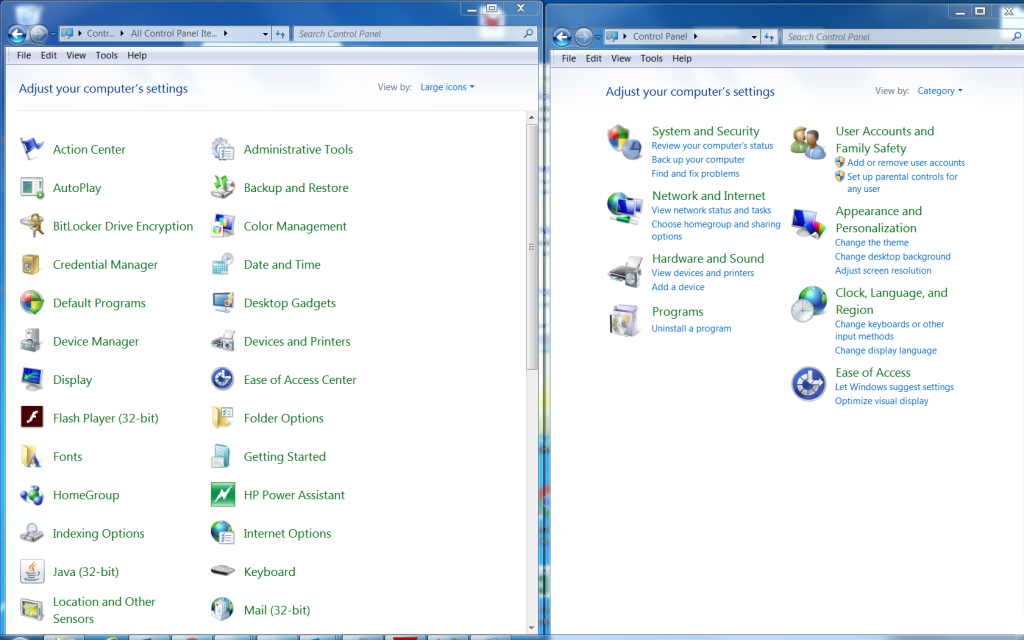 Screenshots of Side by side and Category views in Windows 8 & Windows 8.1