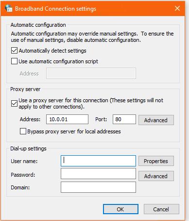 Screenshot of Broadband Proxy settings