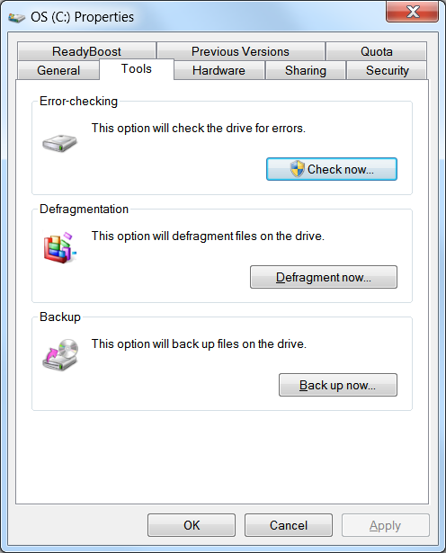 Screenshot of pop-up for Accessing Disk Maintenance Utilities