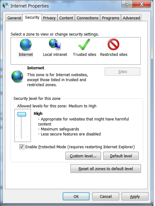 Screenshot of Internet Options Security tab