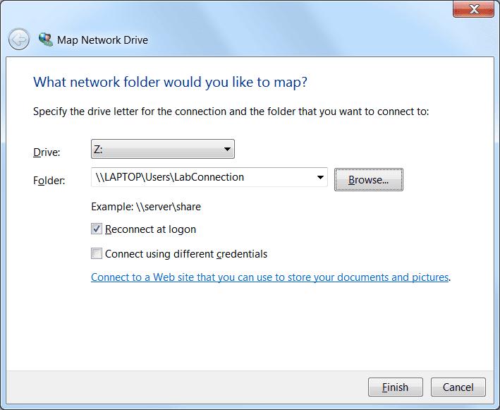 Screenshot of Map Network Drive
