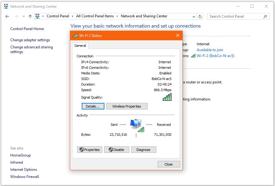 Screenshot of Network and Sharing Center