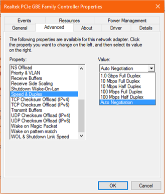 Screenshot of Network speed properties
