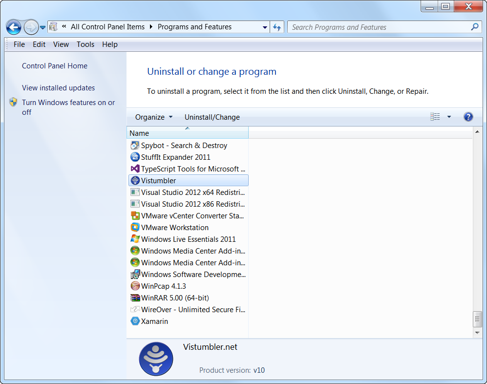 Screenshot of Programs and Features