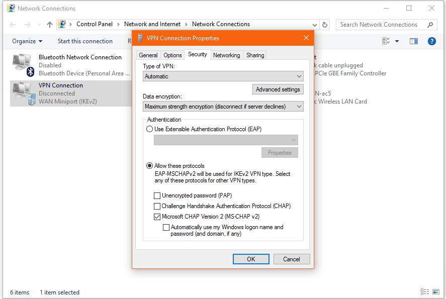 Screenshot of VPN connection properties