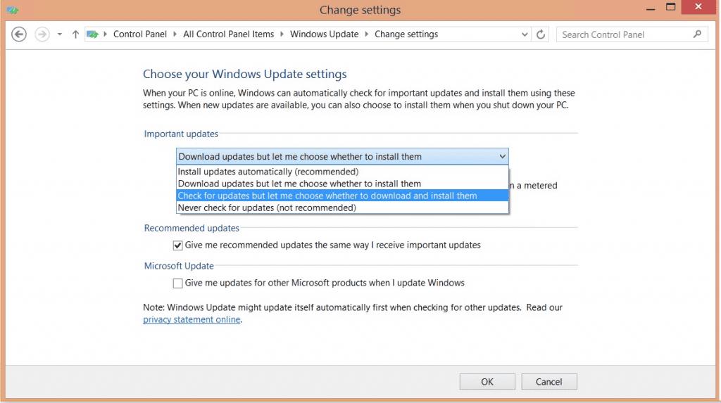 Screenshot of Windows Update Settings