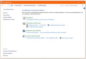 Screenshot of Troubleshooting applet