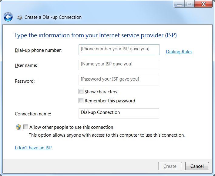 Screenshot of Dial-up connection