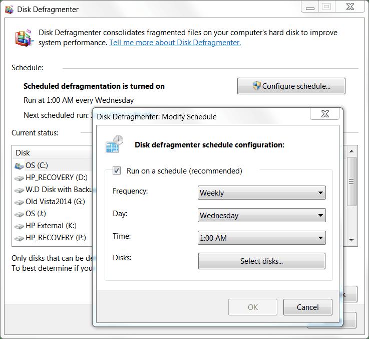 screenshot of Disk Defragment Schedule