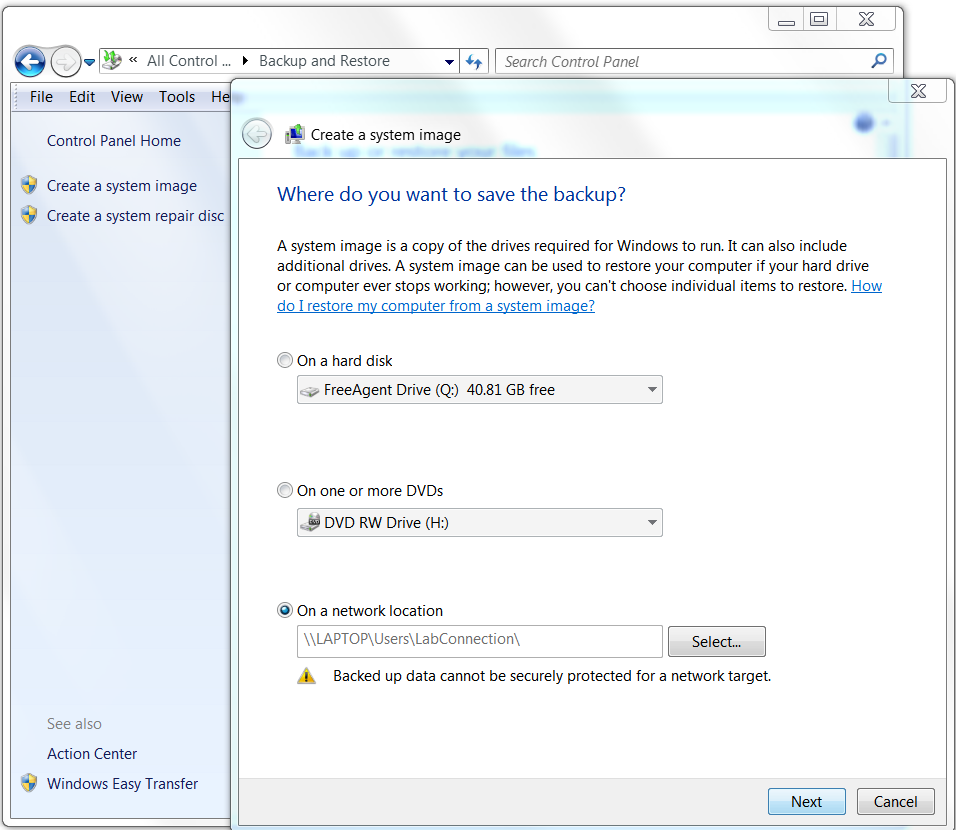 screenshot of the windows system image pop-up