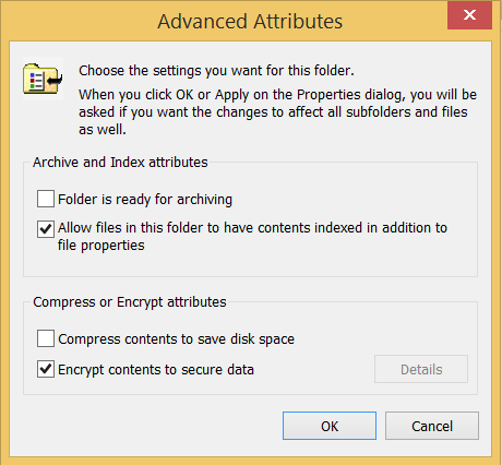 Screenshot of Advanced EFS Encryption