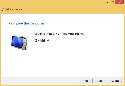 Screenshot of Bluetooth PIN