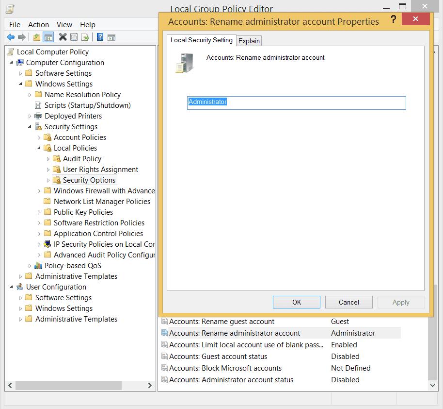 Windopws Screenshot of Change Administrator Account name
