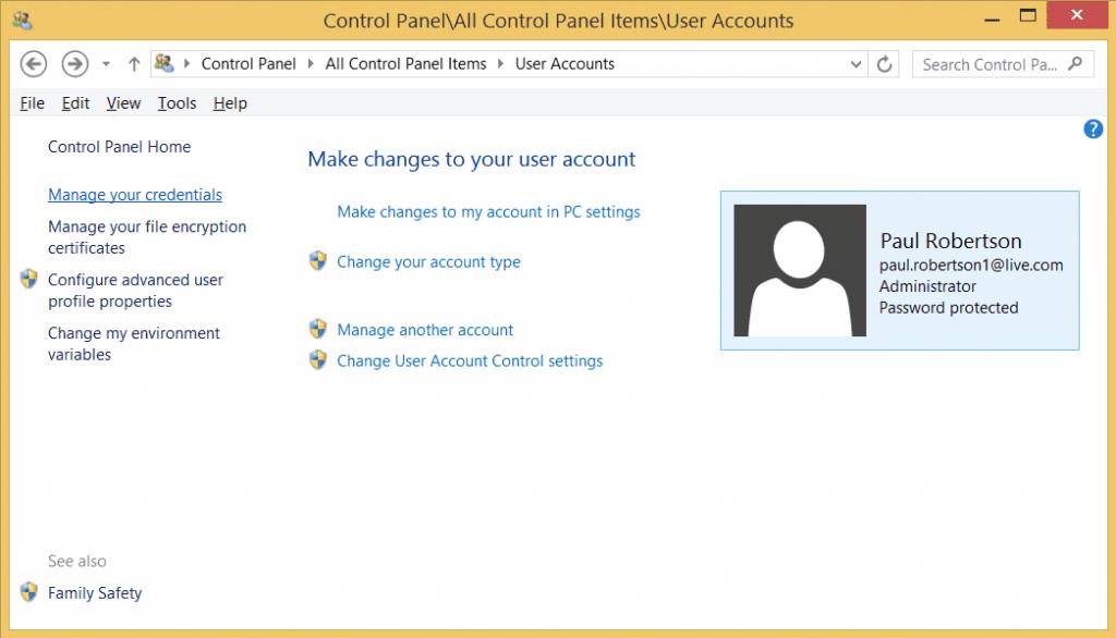 screenshot of Control Panel User Account window