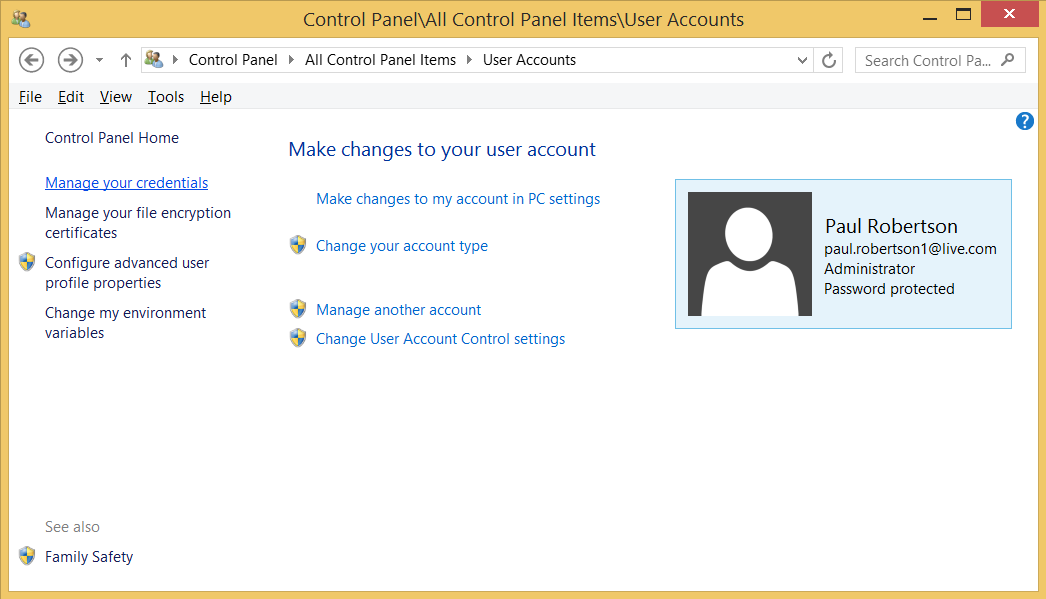 screenshot of Control Panel User Account window