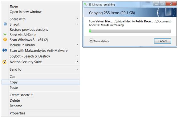 two screenmshots of Copy Operation in GUI