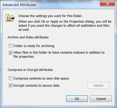pop up for Data Encryption Enabled