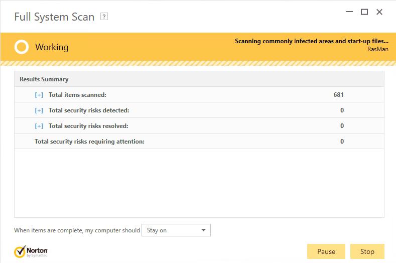 screenshot of Norton Full Scan