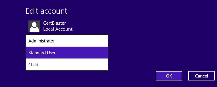 Screenshot of Set Standard User