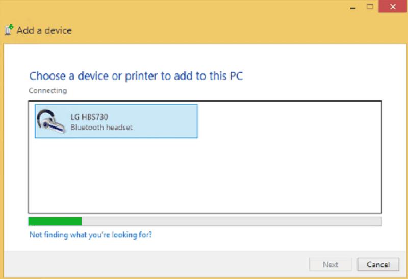Screenshot of Bluetooth Pairing