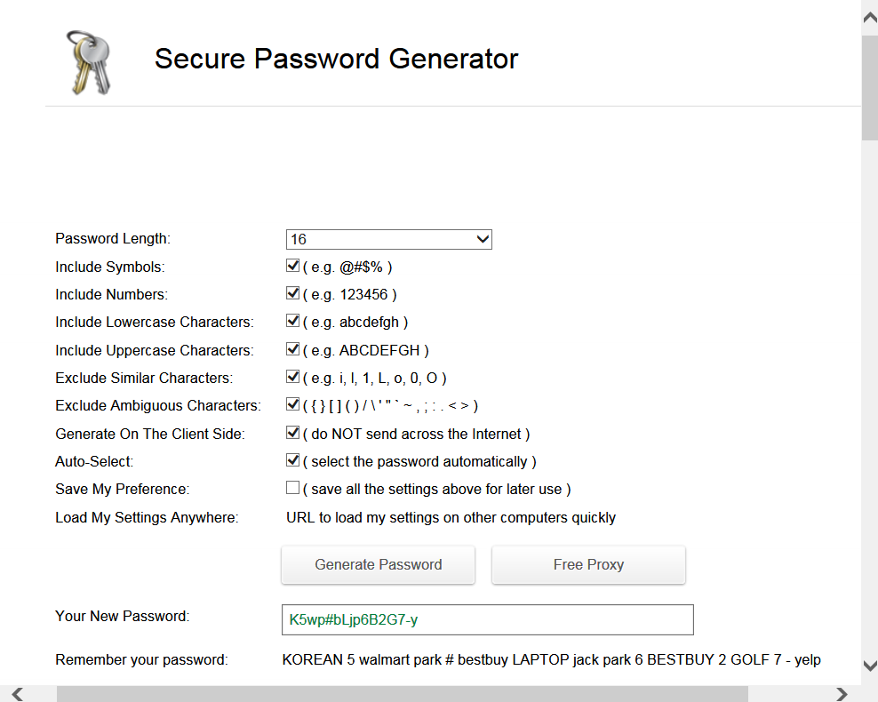 Screenshot of Strong password generator
