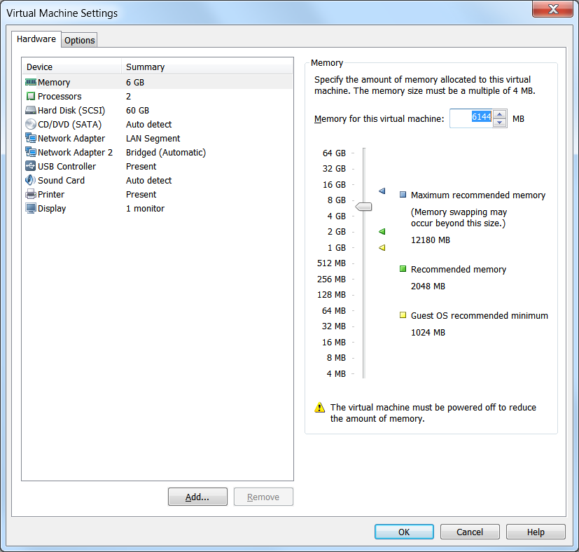 screenshot of VM Settings