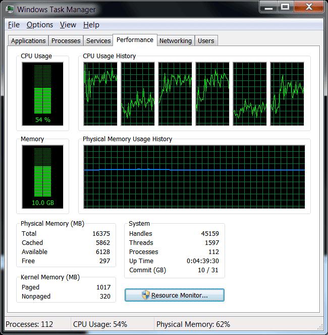 screenshot of VM Resource usage
