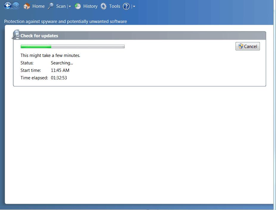 Screenshot of defender update failure infected machine