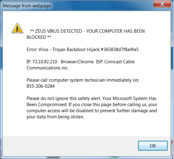screenshot of false warning
