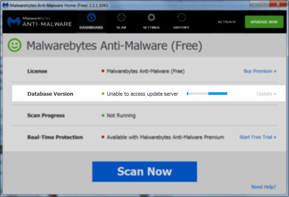screenshot of server access fail
