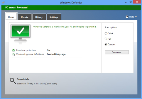 Screenshot of Windows defender