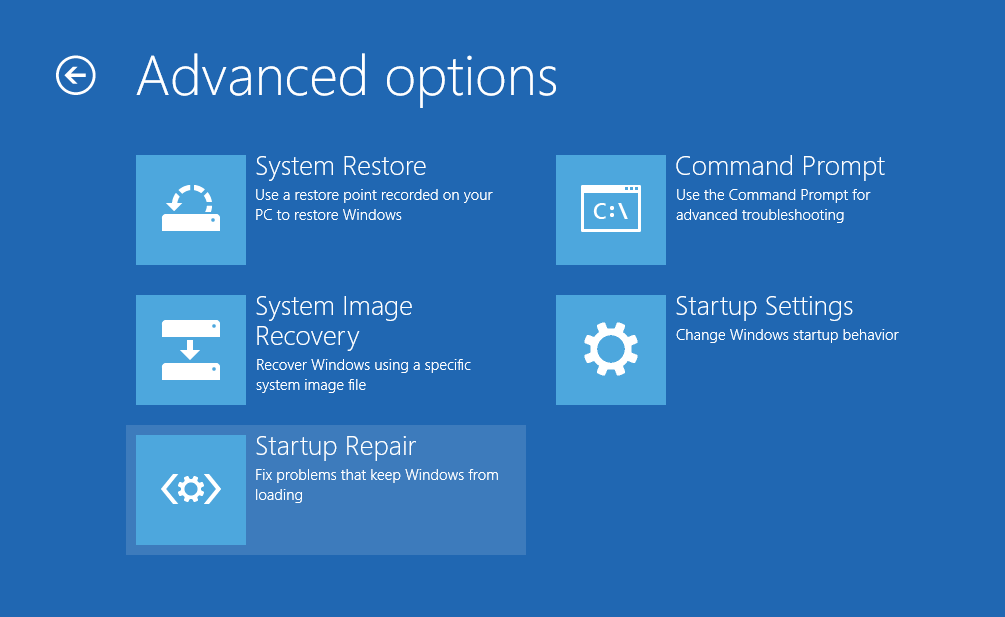 screen grab of Advanced startup options