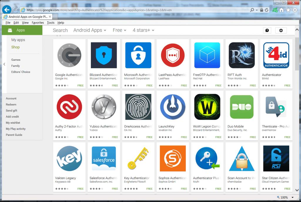 screenshot of Authenticator Apps